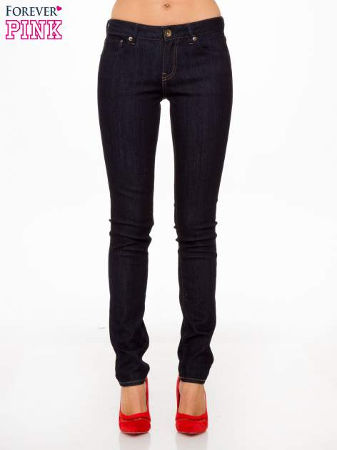 Granatowe klasyczne spodnie jeansowe rurki                                  zdj.                                  1