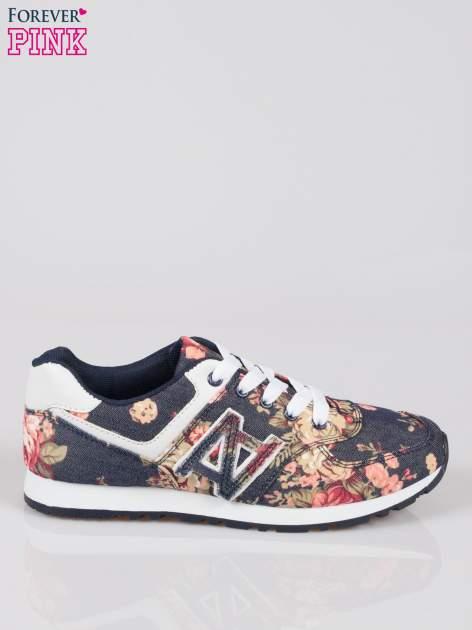 Granatowe kwiatowe buty sportowe w stylu casual