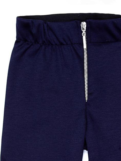 Granatowe legginsy dziewczęce zapinane na suwak                              zdj.                              6