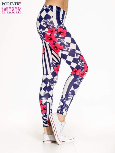 Granatowe legginsy z nadrukiem mix patterns                                  zdj.                                  3