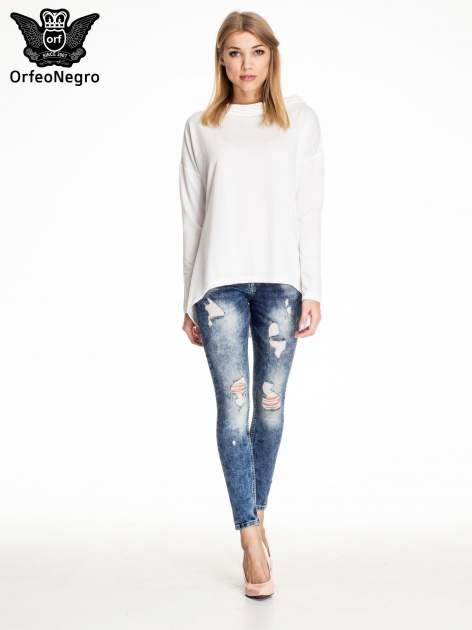 Granatowe lekko marmurowe spodnie ripped jeans                                  zdj.                                  2