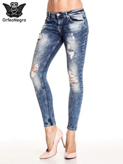 Granatowe lekko marmurowe spodnie ripped jeans                                  zdj.                                  1