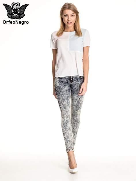 Granatowe marmurkowe spodnie skinny jeans                                  zdj.                                  2