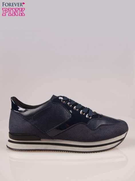 Granatowe miejskie buty sportowe textile Excellence na warstwowej podeszwie                                  zdj.                                  1
