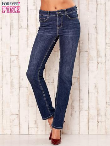 Granatowe proste spodnie jeansowe                                  zdj.                                  1