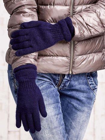Granatowe rękawiczki ze ściągaczem i podwójnym mankietem                                  zdj.                                  3