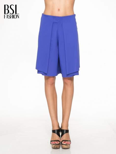 Granatowe spódnicospodnie z zakładkami