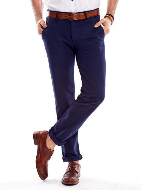 Granatowe spodnie męskie regular                              zdj.                              6
