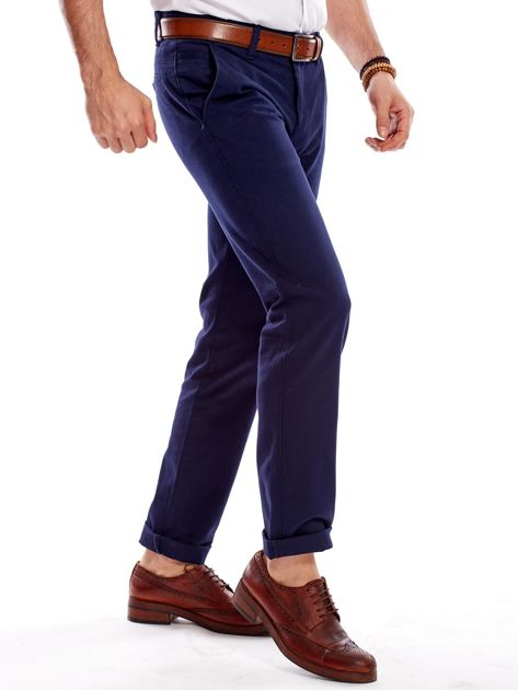Granatowe spodnie męskie regular                              zdj.                              8
