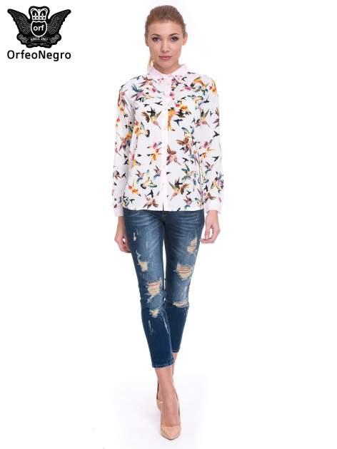Granatowe spodnie skinny jeans z dziurami                                  zdj.                                  2