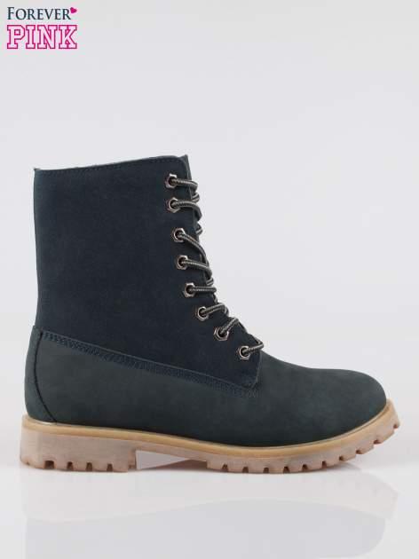 Granatowe wysokie buty trekkingowe traperki damskie ze skóry naturalnej                                  zdj.                                  1