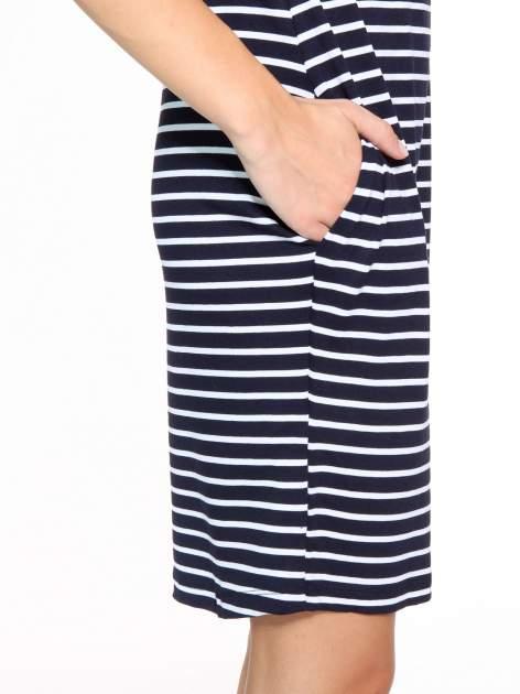 Granatowo-biała prosta sukienka w paski                                  zdj.                                  8