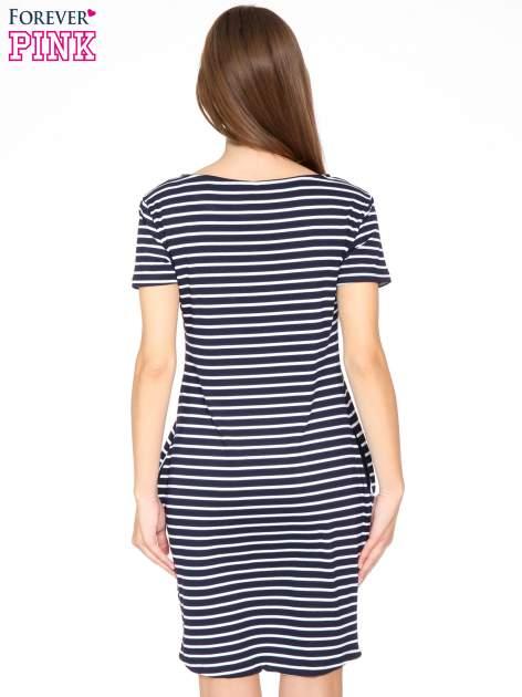 Granatowo-biała prosta sukienka w paski                                  zdj.                                  4