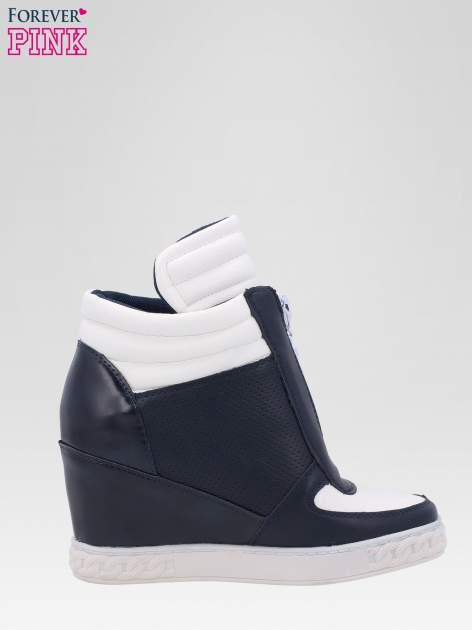 Granatowo-białe sneakersy damskie z suwakiem                                  zdj.                                  1