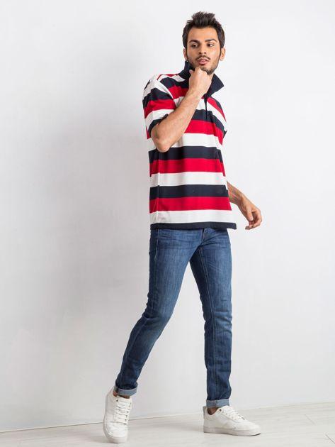 Granatowo-czerwona koszulka męska polo Thought                              zdj.                              6