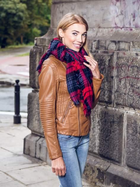 Granatowo-czerwony szalik damski w kratę                                  zdj.                                  13