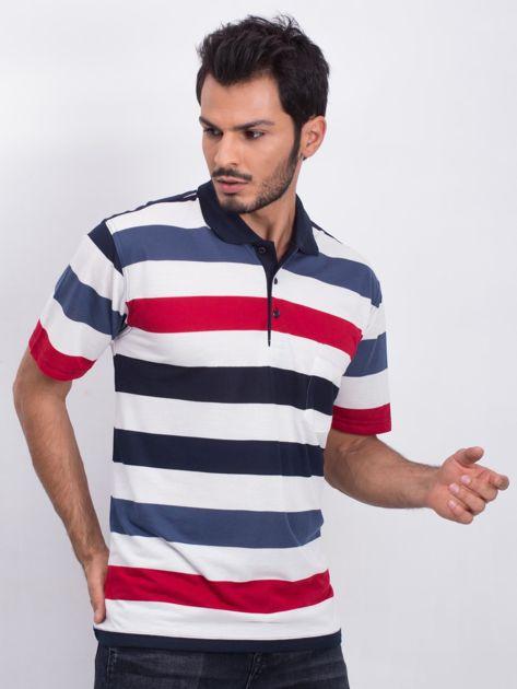 Granatowo-ecru męska koszulka polo Easier