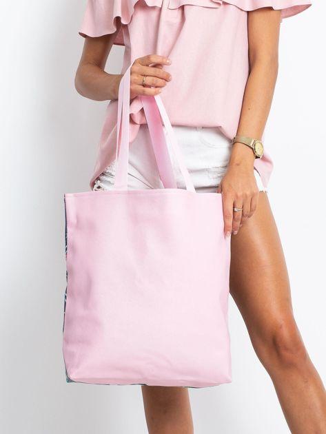 Granatowo-różowa torba z nadrukiem                              zdj.                              2