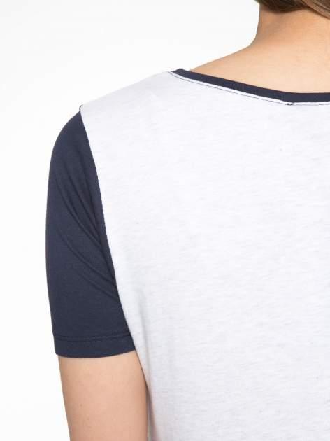 Granatowo-szary t-shirt z nadrukiem FASHION 88                                  zdj.                                  9