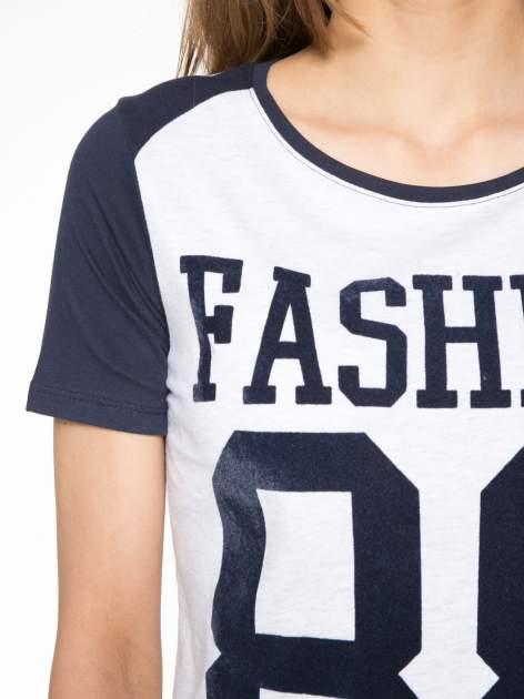 Granatowo-szary t-shirt z nadrukiem FASHION 88                                  zdj.                                  5