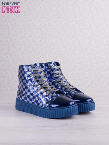 Granatowosrebrne sneakersy Kailey z cekinami w szachownicę                                  zdj.                                  3