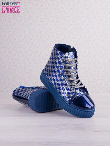 Granatowosrebrne sneakersy Kailey z cekinami w szachownicę                                  zdj.                                  4