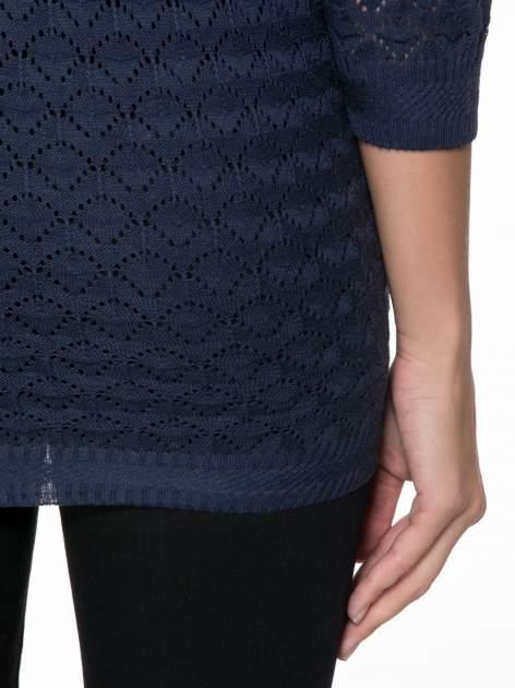 Granatowy ażurowy sweterek kardigan na guziki                                  zdj.                                  8