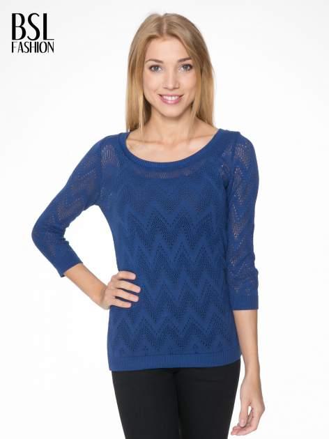 Granatowy ażurowy sweterek z rękawem 3/4                                  zdj.                                  1