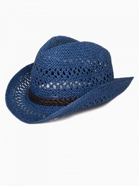Granatowy damski kapelusz kowbojski z ciemną plecionką                                  zdj.                                  4