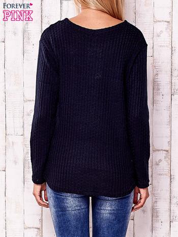 Granatowy dzianinowy sweter                                   zdj.                                  4