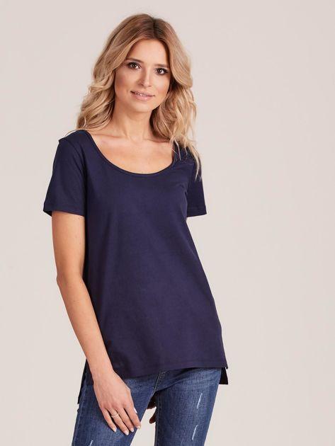 Granatowy gładki t-shirt damski                              zdj.                              1