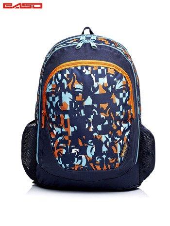 Granatowy plecak szkolny w kolorowe wzory                              zdj.                              1