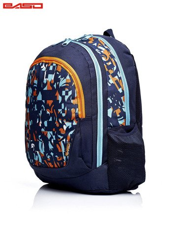 Granatowy plecak szkolny w kolorowe wzory                              zdj.                              2