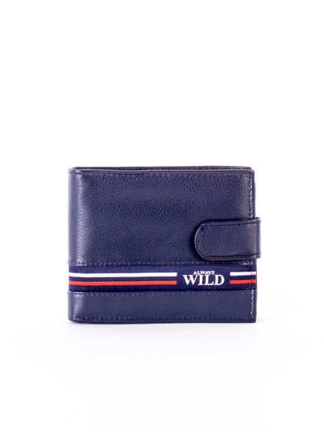 Granatowy portfel dla mężczyzny z materiałowym modułem                              zdj.                              1