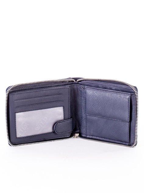 Granatowy portfel dla mężczyzny ze skóry naturalnej                              zdj.                              3