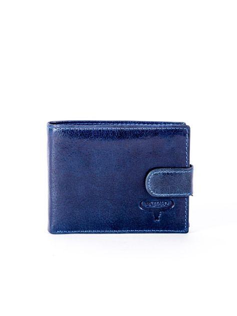 Granatowy portfel skórzany z zapięciem                              zdj.                              1