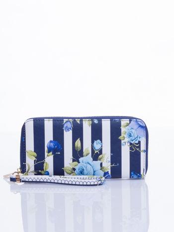 Granatowy portfel w kwiaty efekt saffiano