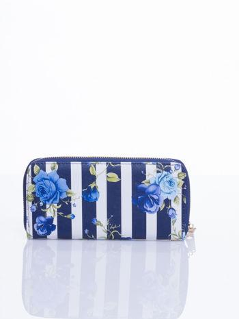 Granatowy portfel w kwiaty efekt saffiano                                  zdj.                                  3