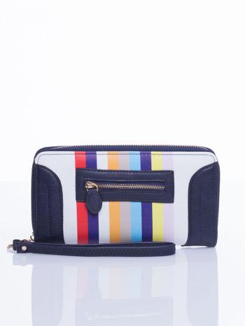 Granatowy portfel w paski z kieszonką                                  zdj.                                  2