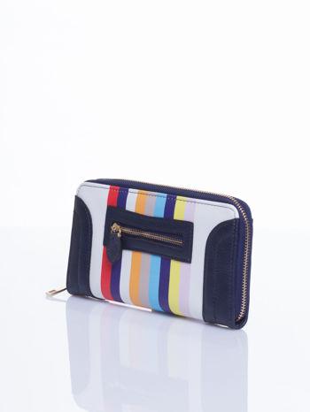 Granatowy portfel w paski z kieszonką                                  zdj.                                  3