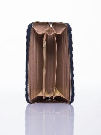 Granatowy portfel w paski z uchwytem                                  zdj.                                  3