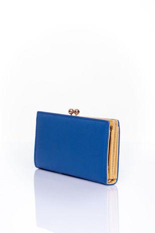 Granatowy portfel z biglem efekt saffiano                                   zdj.                                  2
