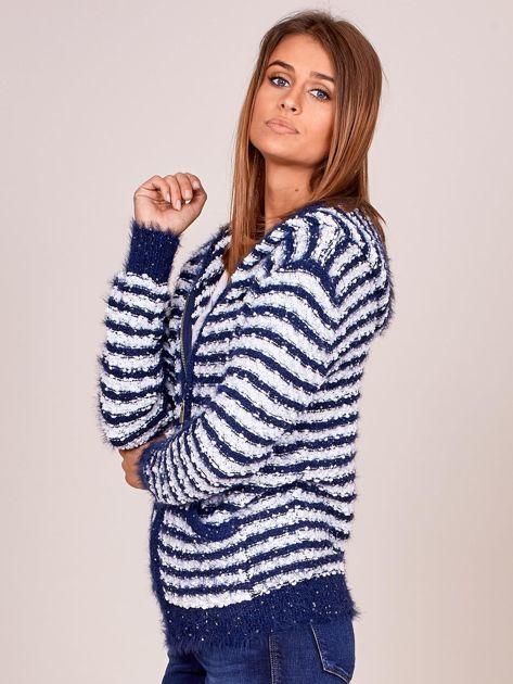 Granatowy rozpinany sweter w paski z kapturem                              zdj.                              3