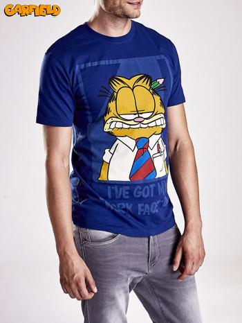 Granatowy t-shirt męski GARFIELD                                  zdj.                                  9