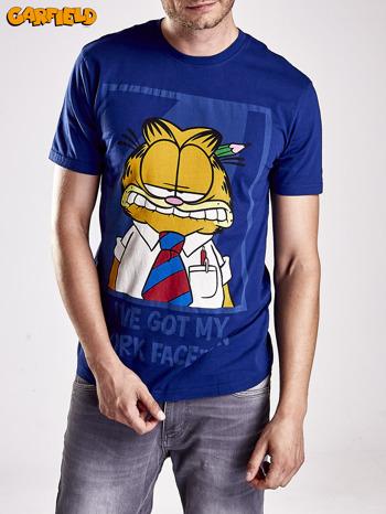 Granatowy t-shirt męski GARFIELD                                  zdj.                                  3