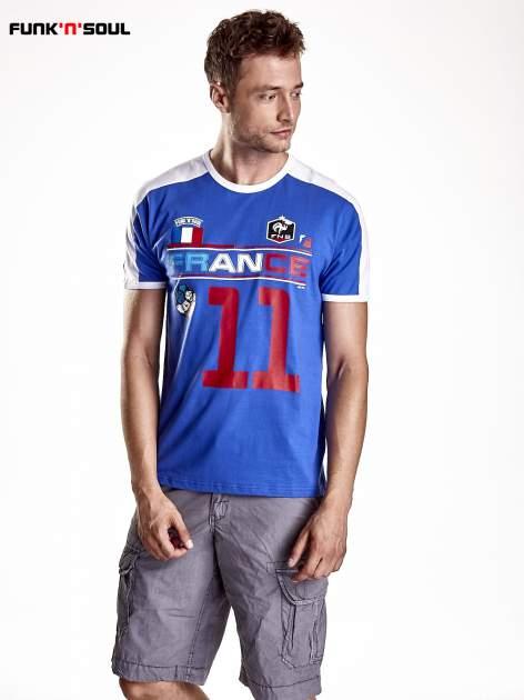 Granatowy t-shirt męski z napisem FRANCE Funk n Soul                                  zdj.                                  1