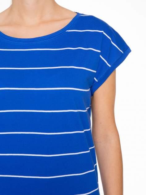 Granatowy  t-shirt w paski                                   zdj.                                  5