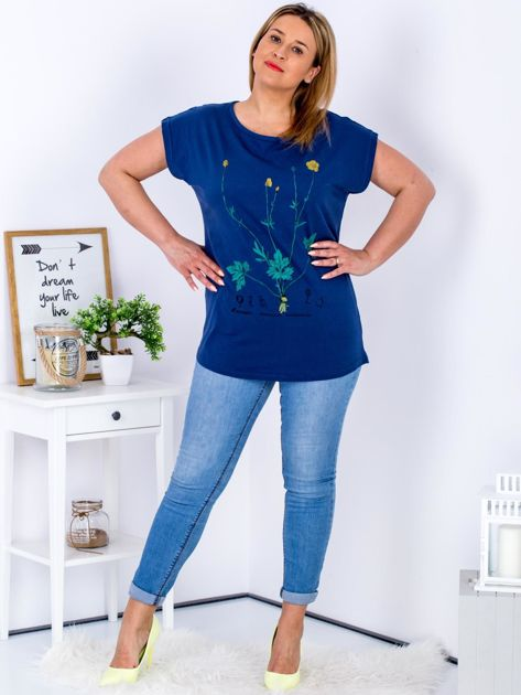 Granatowy t-shirt z jaskrami PLUS SIZE                              zdj.                              4