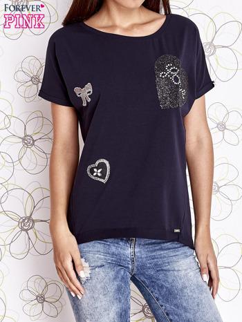 Granatowy t-shirt z motywem serca i kokardki                                  zdj.                                  1