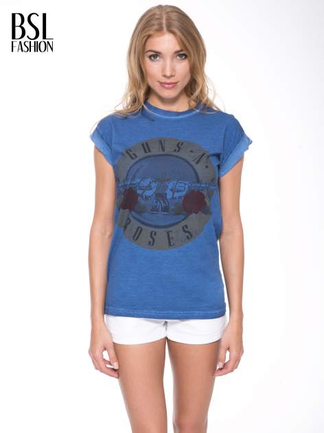 Granatowy t-shirt z nadrukiem GUNS N' ROSES                                  zdj.                                  1